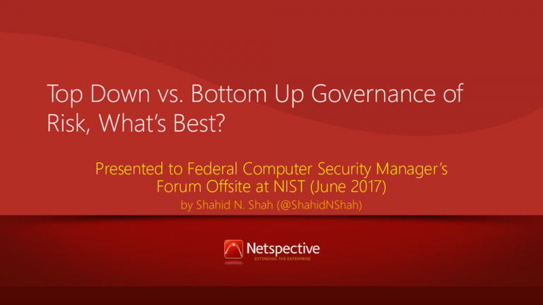 Top-down vs. Bottom-up Risk Governance