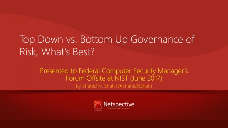 Top-down vs. Bottom-up Risk Governance